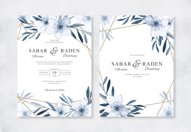 Aquarela floral e geométrica ouro para convite de casamento