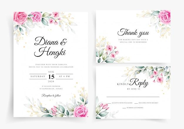 Aquarela floral elegante no modelo de cartão de convite de casamento