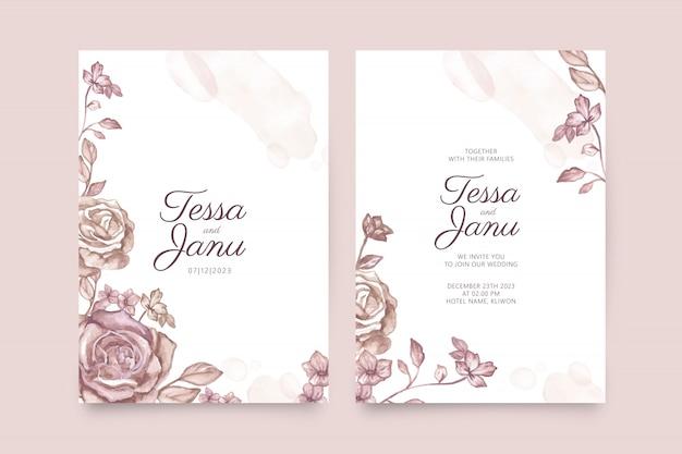 Aquarela floral em modelo de convite de casamento