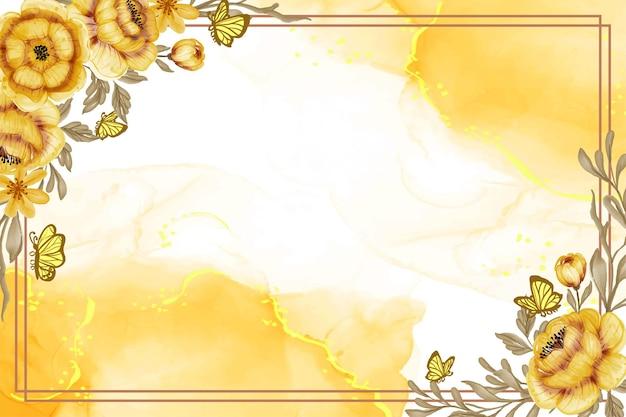 Aquarela floral em ouro amarelo pintado à mão com fundo de borboleta