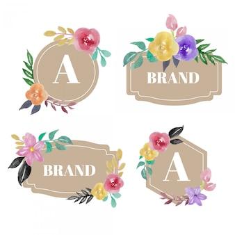 Aquarela floral flor logo badge design