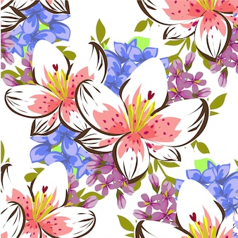 Aquarela floral folhas sem costura de fundo
