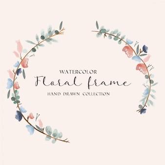 Aquarela floral frame mão desenhada coleção