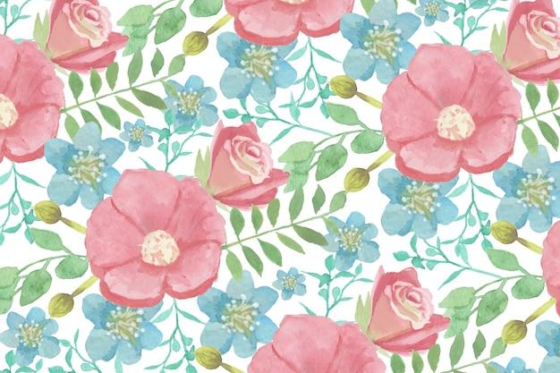 Aquarela floral fundo com cores suaves
