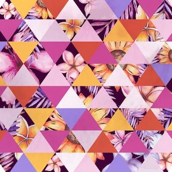 Aquarela floral geométrica
