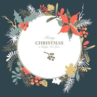 Aquarela floral inverno feliz natal cartão com galhos de azevinho, flores e frutos