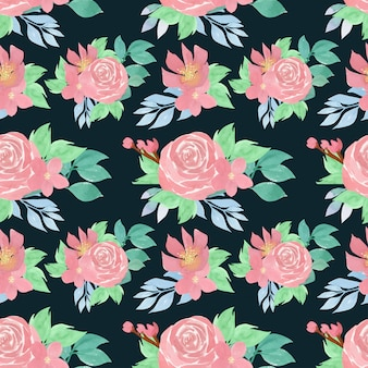 Aquarela floral padrão sem emenda com lindas rosas cor de rosa