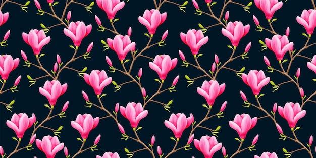 Aquarela floral padrão sem emenda flores de magnólia rosa em fundo preto