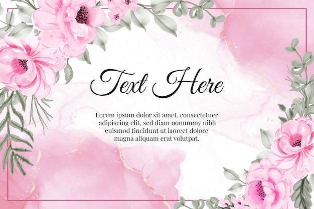 Aquarela floral peônias de flores rosa
