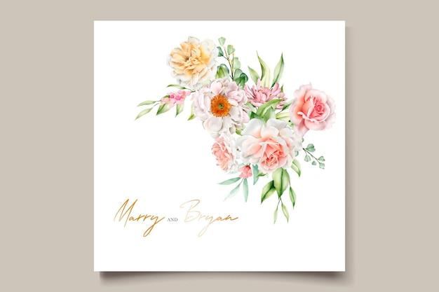 Aquarela floral peônias e rosas cartão de convite de casamento