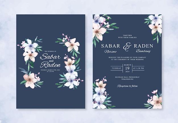 Aquarela floral pintada à mão para convite de casamento elegante
