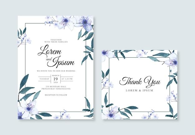 Aquarela floral pintada à mão para convite de casamento