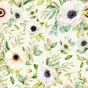 Aquarela floral romântico sem costura padrão