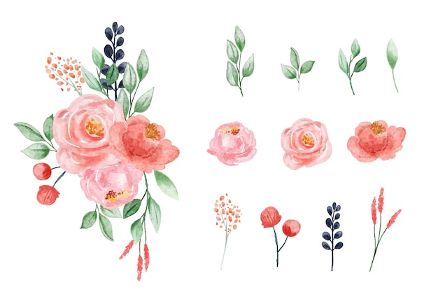 Aquarela floral rosa blush