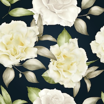 Aquarela floral sem costura padrão realista
