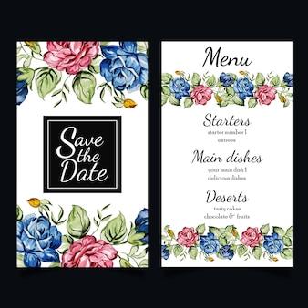 Aquarela floral stationery set Vetor Premium