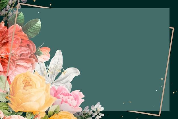 Aquarela floral vintage com moldura dourada sobre fundo verde
