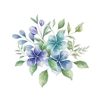 Aquarela flores azuis e folhas verdes bouquet floral