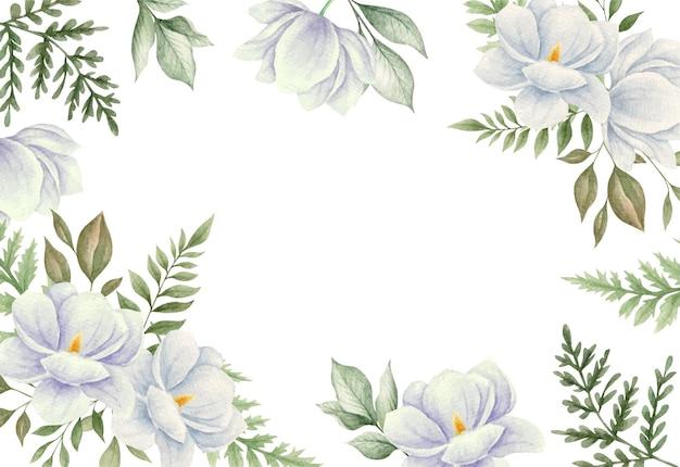 Aquarela flores e folhas de magnólia branca