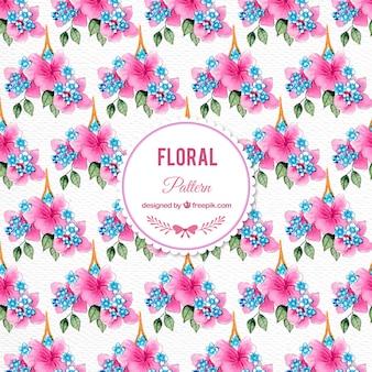 Aquarela flores rosa padrão