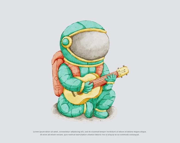 Aquarela fofa ilustração de astronauta