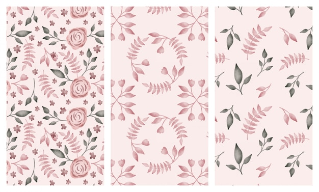 Aquarela fofos flores e folhas conjunto de padrões sem emenda