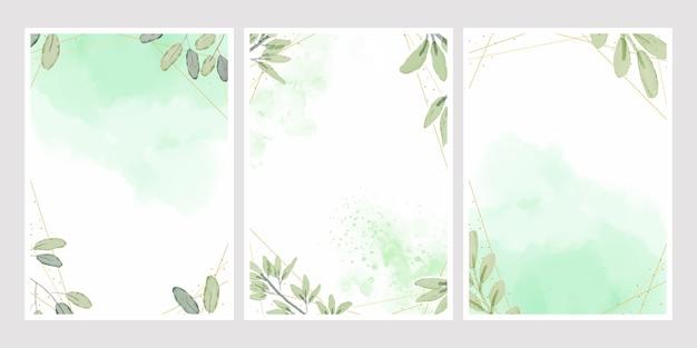 Aquarela folhas com moldura dourada