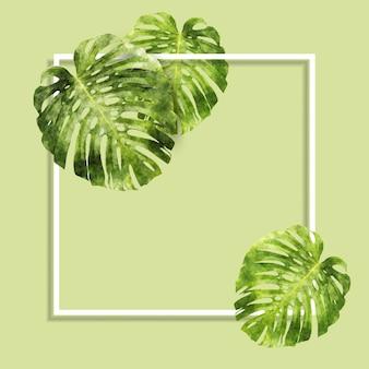Aquarela folhas e fundo de quadro