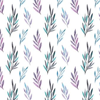 Aquarela folhas padrão