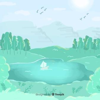 Aquarela fundo natural com paisagem