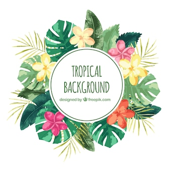 Aquarela fundo tropical com estilo vintage