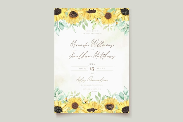 Aquarela girassol cartão de convite de casamento