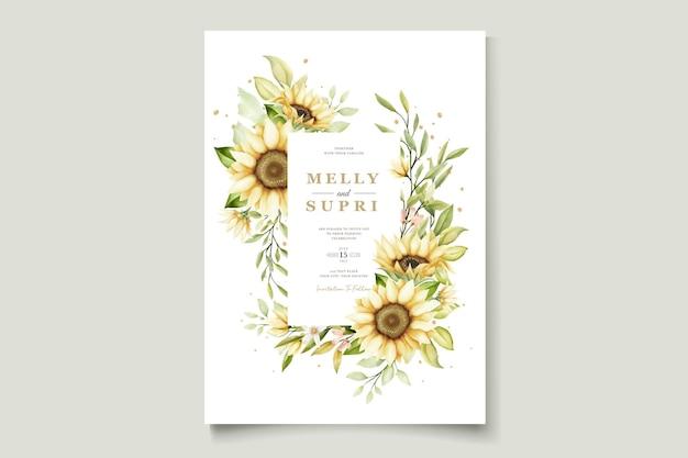 Aquarela girassol cartão de convite de verão
