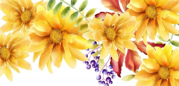 Aquarela girassol laranja com folhas e bagas