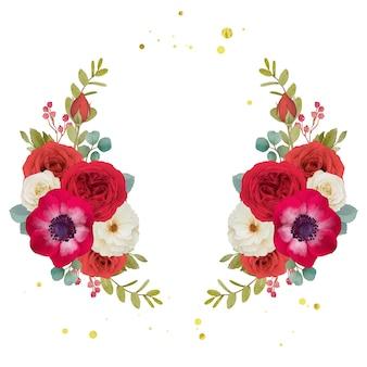 Aquarela grinalda de flores vermelhas