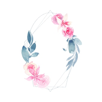 Aquarela grinalda geométrica com flor rosa rosa e folhas de índigo