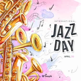 Aquarela internacional jazz dia fundo
