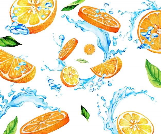 Aquarela laranja fatias e folhas entre salpicos de água