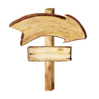 Aquarela letreiros de seta de madeira