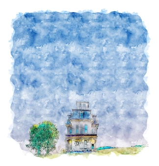 Aquarela linda casa-jardim da nova inglaterra