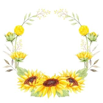 Aquarela linda coroa de flores de girassol