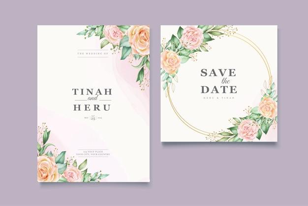 Aquarela linda deixa modelo de cartão de casamento