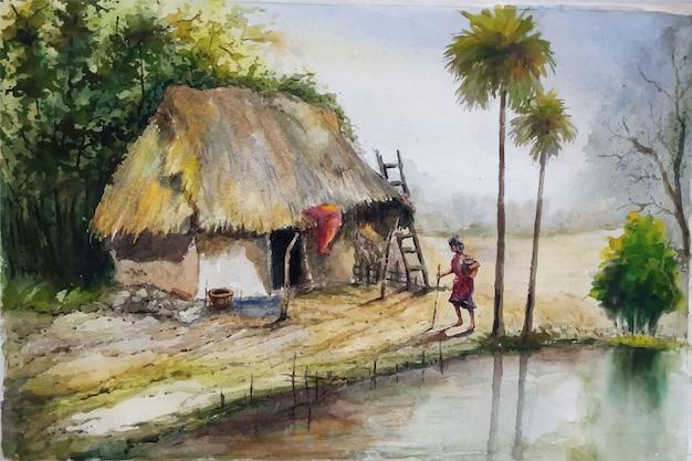 Aquarela linda favela, ilustração de paisagem de cabana premium vector