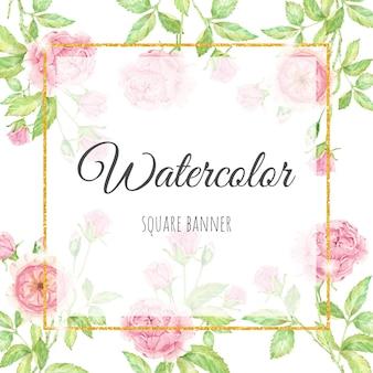 Aquarela linda flor rosa inglesa com moldura quadrada dourada