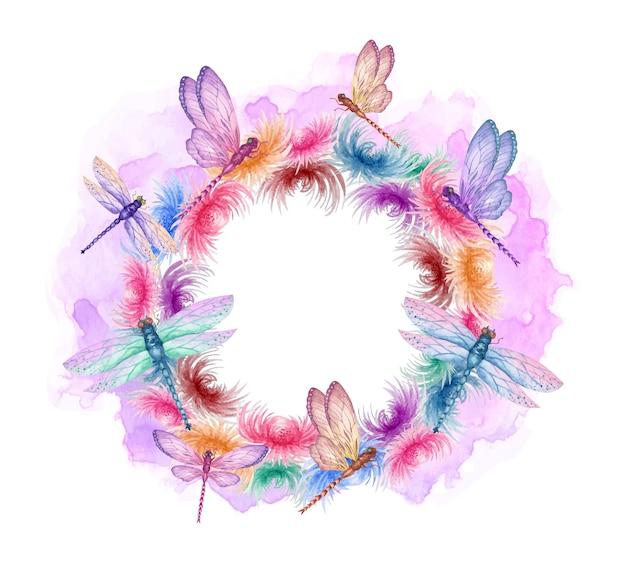 Aquarela linda moldura colorida de libélulas voadoras