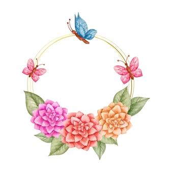 Aquarela linda moldura floral com borboletas