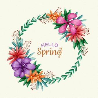 Aquarela linda moldura floral primavera