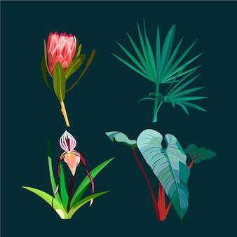 Aquarela lindas flores exóticas e folhas