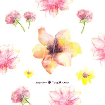 Aquarela livre padrão floral