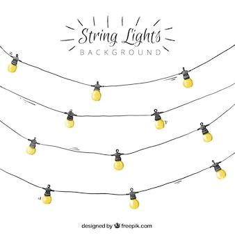 Aquarela luzes da corda fundo